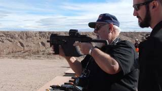 Firing the Kriss Vector at ShotShow Range Day.