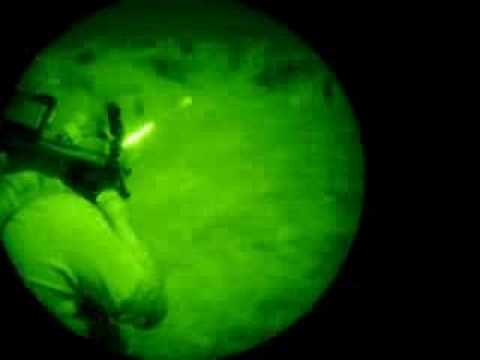 Shooting the M-16 A2 at night.