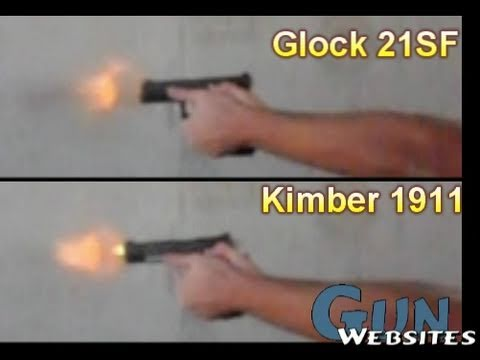 1911 vs Glock .45acp Slow Motion
