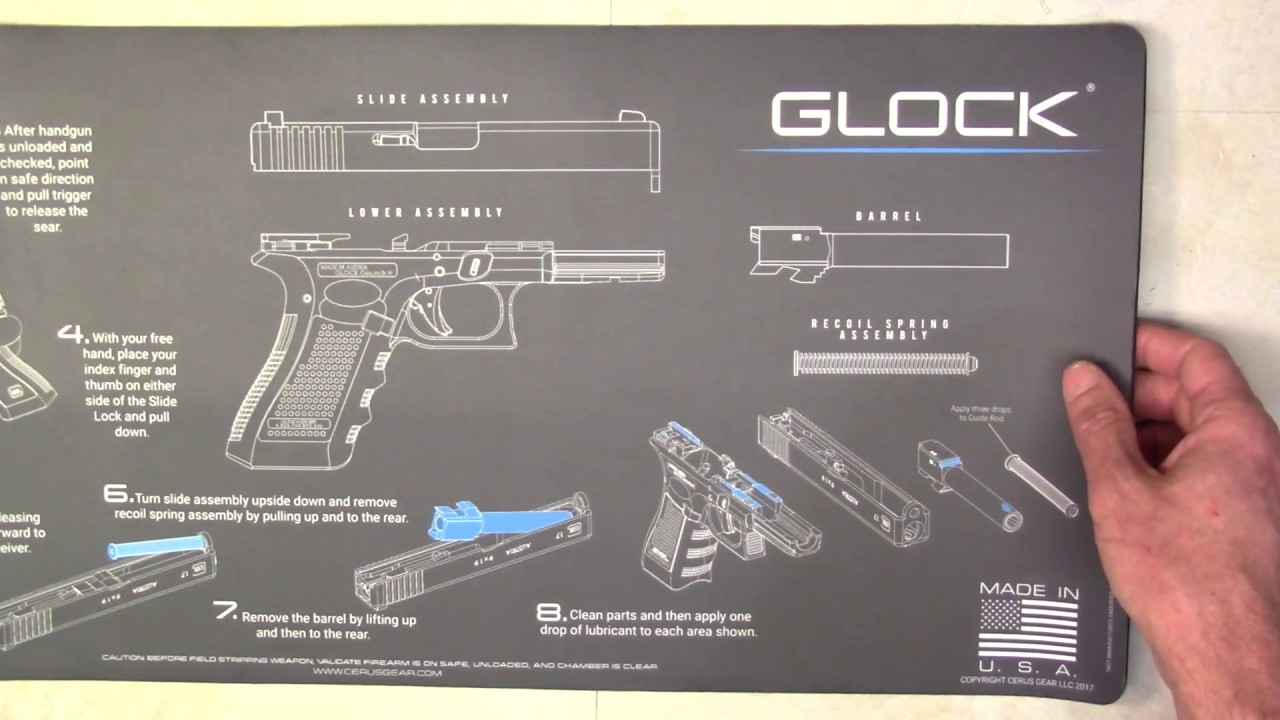 Cerus Gear Pistol Schematic Cleaning Mats for Glock and more at NDZ Performance