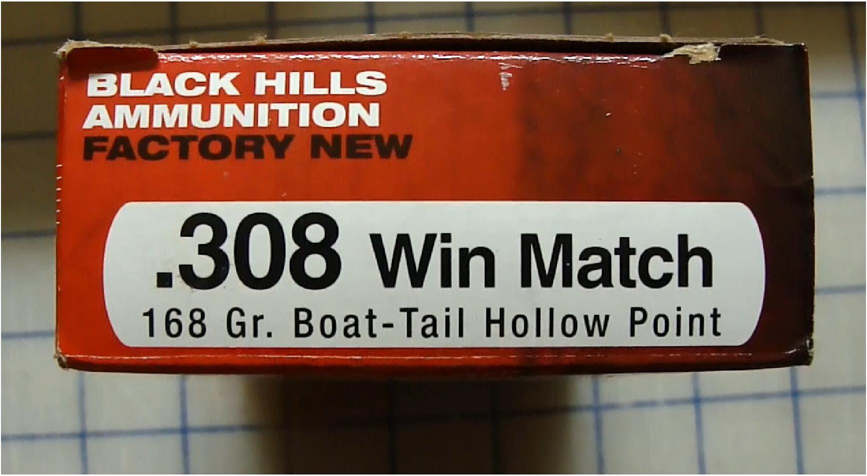 Black Hills .308 Win Match Boat Tail Hollow Point 168gr Gel Test