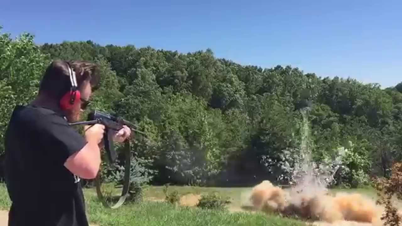 The best exploding target - Tannerite w AK-47 7.62x39 huge explosion fail
