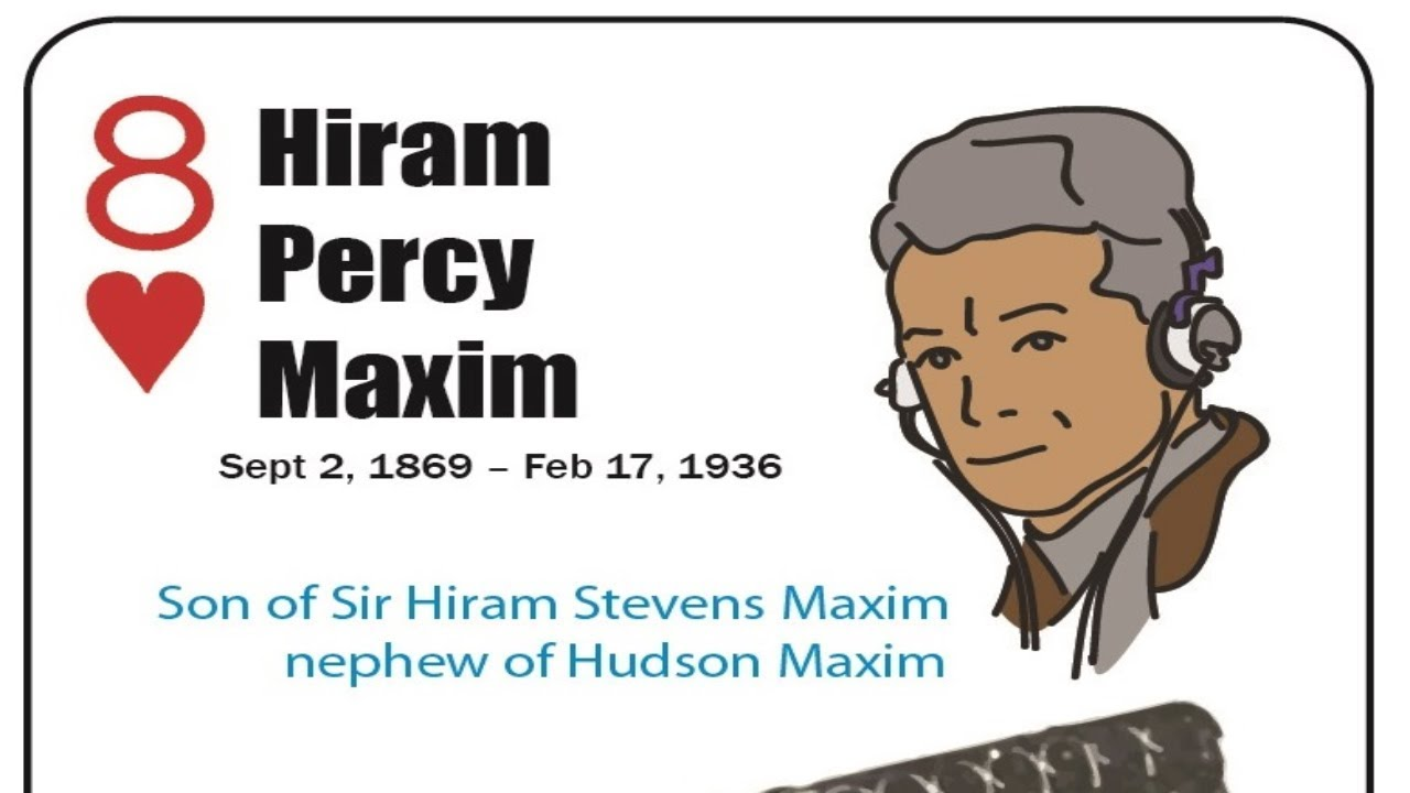 Hiram Percy Maxim - 8 Hearts - Firearm Inventors - Playing Card Deck