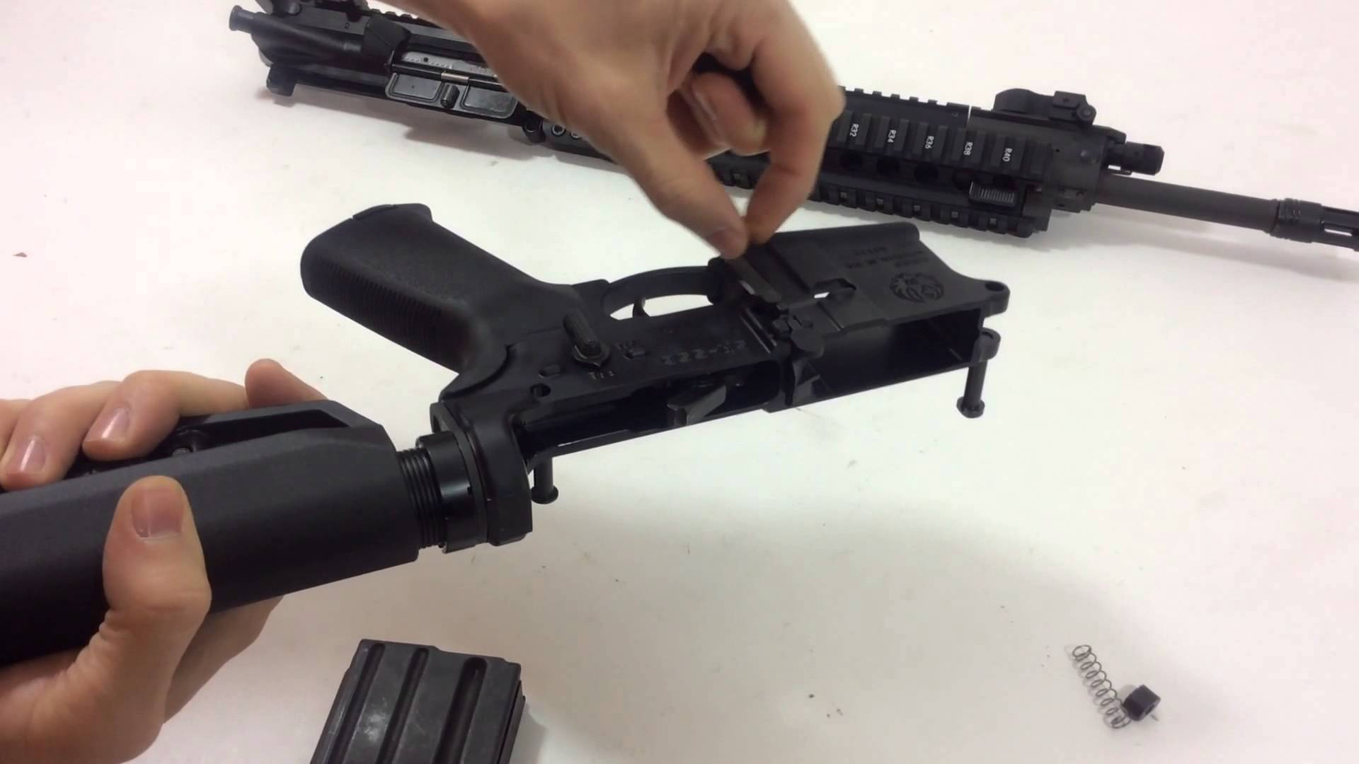 How to install a bullet button on an AR-15 Rifle (Ruger SR-556TD TAKEDOWN MODEL 05901)
