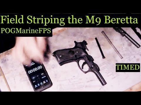 How a US Marine Disasembles & Re-Assembles Firearms TIMED Beretta M9 Service Pistol 9mm Handgun