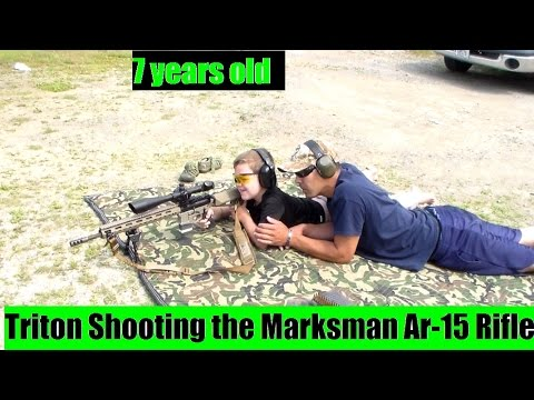 My 7 Year old Son shooting Ar-15 Sniper Marksmanship rifle by JSD Arms