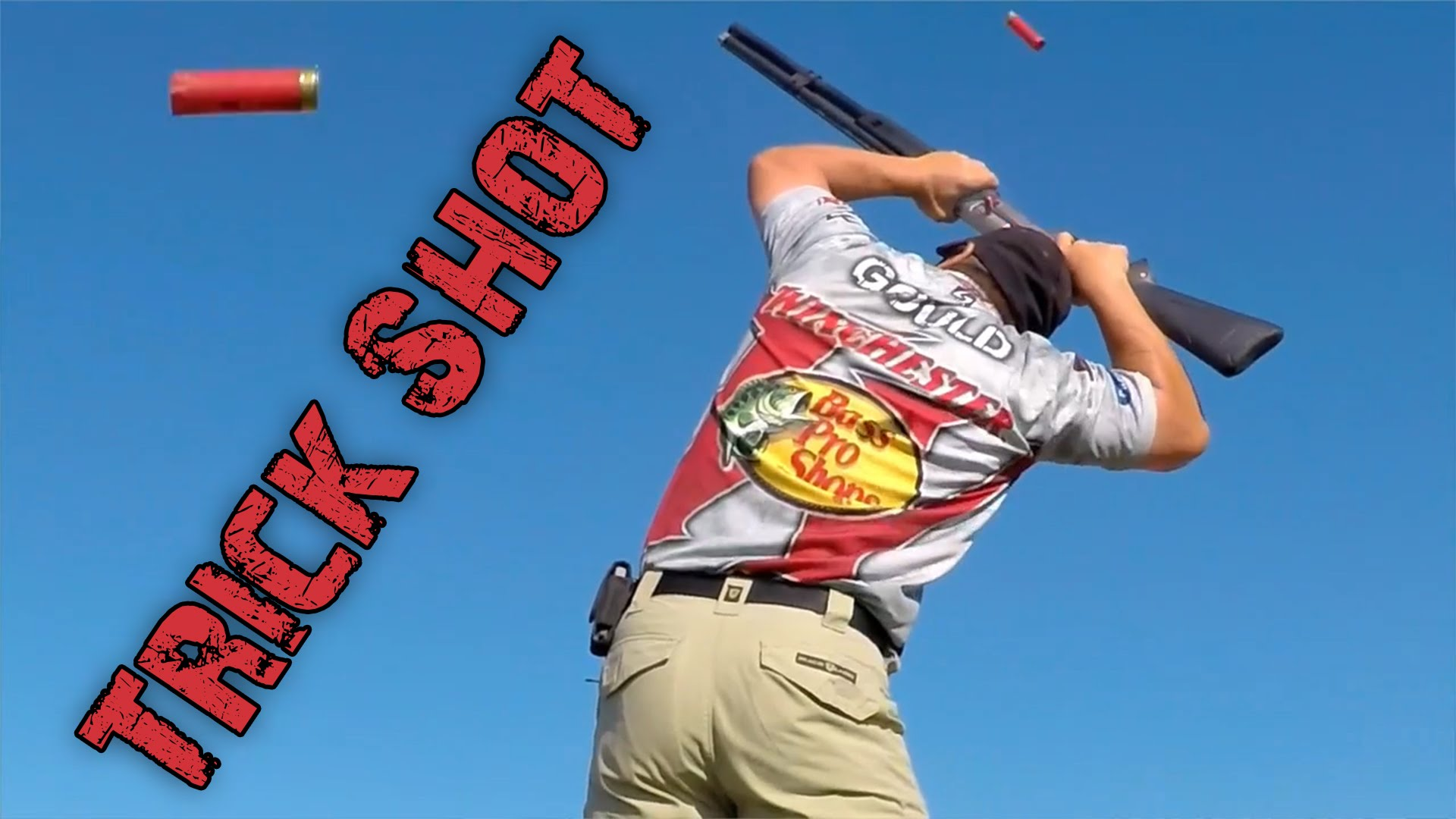 A New World Record - 7 Clays Shot with the Gun Upside Down Over the Head | Gould Brothers