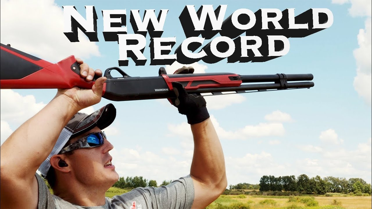 World Record 8 Clay Targets with Shotgun Over the Head | Gould Brothers