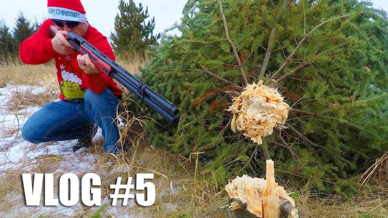 Shotgun vs Christmas Tree 🎄  How Many Shots Will it Take? | Gould Brothers VLOG