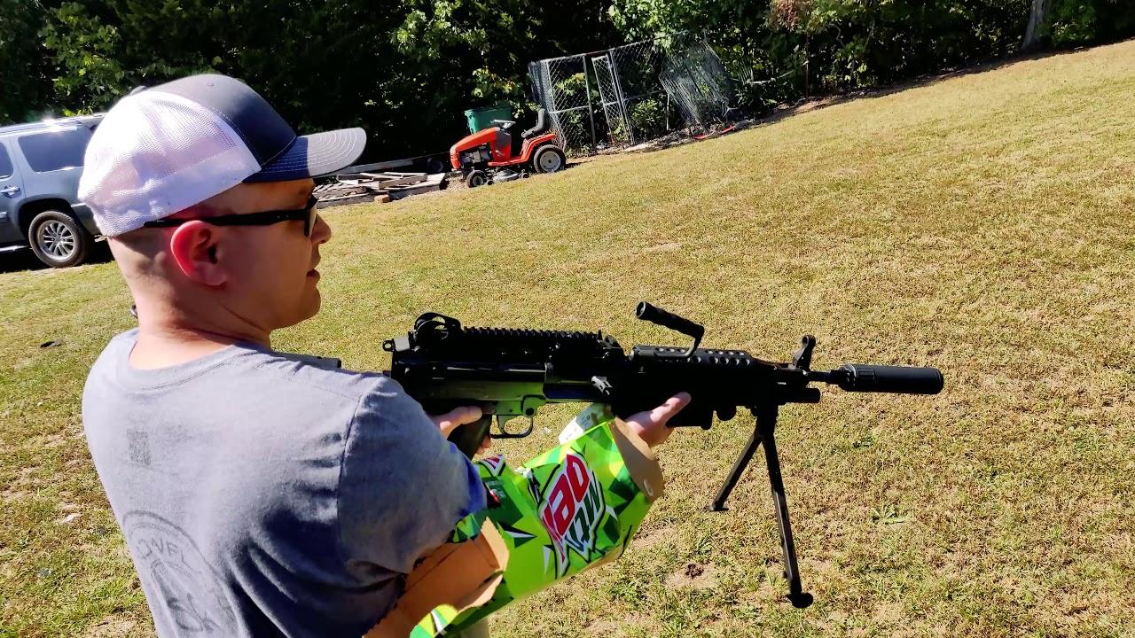 MODERN WEAPON SYSTEMS | MWS MOUNTAIN DEW SHOOTING SLEEVE TEST! M249 SAW MACHINE GUN OSS SUPPRESSOR