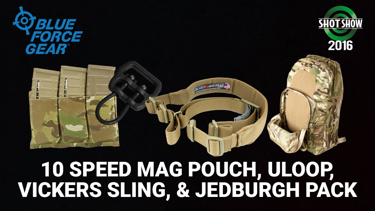 Blue Force Gear 10 Speed Mag Pouch, Uloop, Vickers Sling, and Jedburgh Backpack - SHOT Show 2016