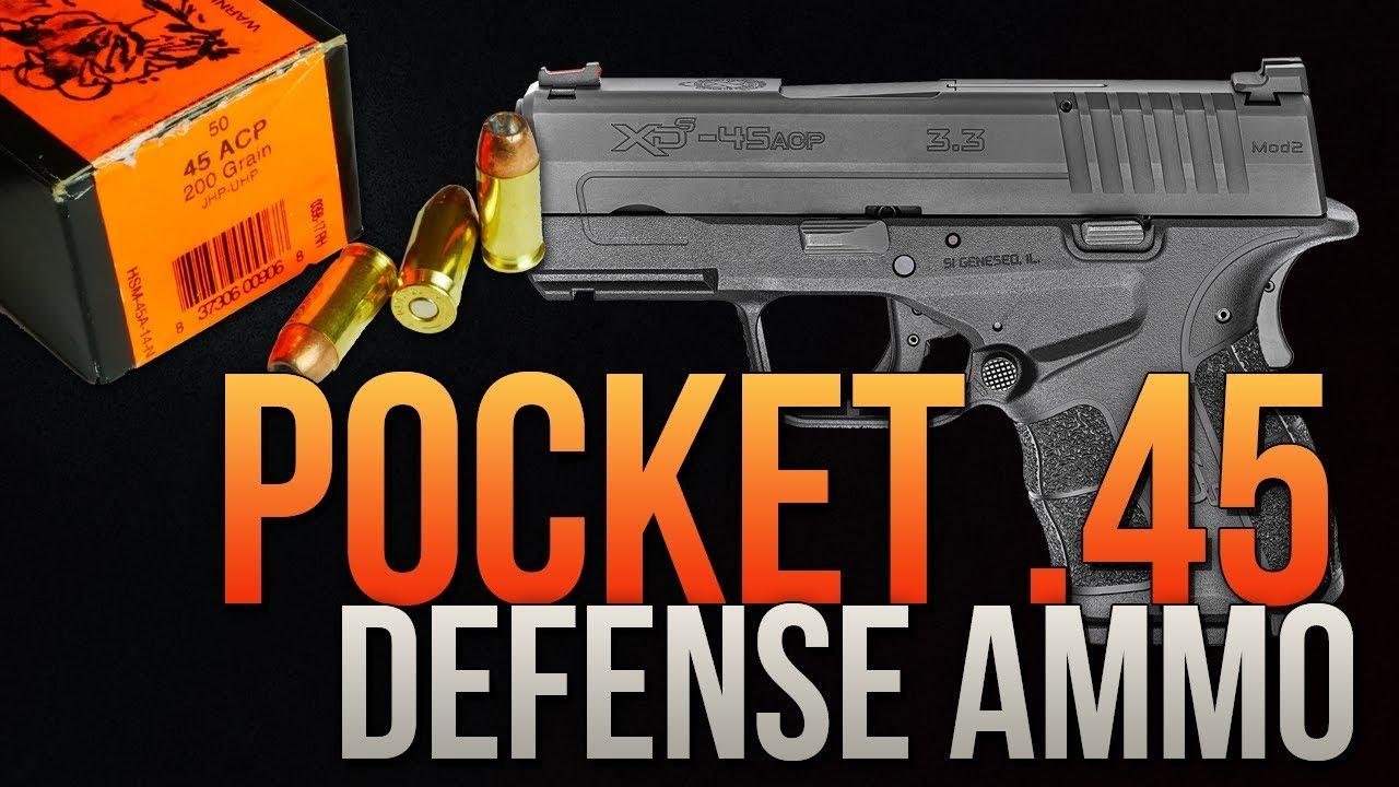 Pocket .45 Defense Ammo: .45 Auto HSM 200gr Unicor Hollow Point Gel Test