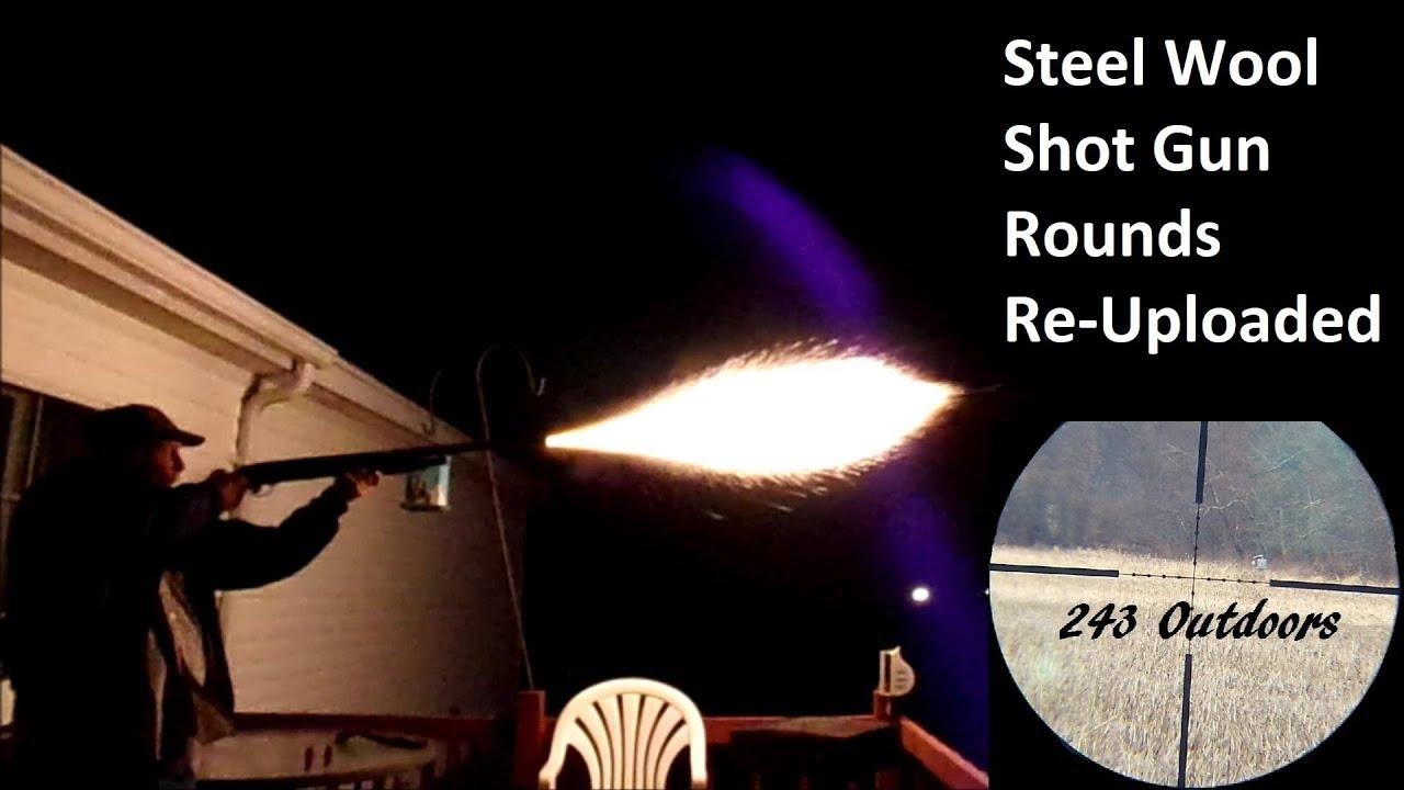 Steel Wool Shot Gun Rounds At Night (Re-Uploaded)