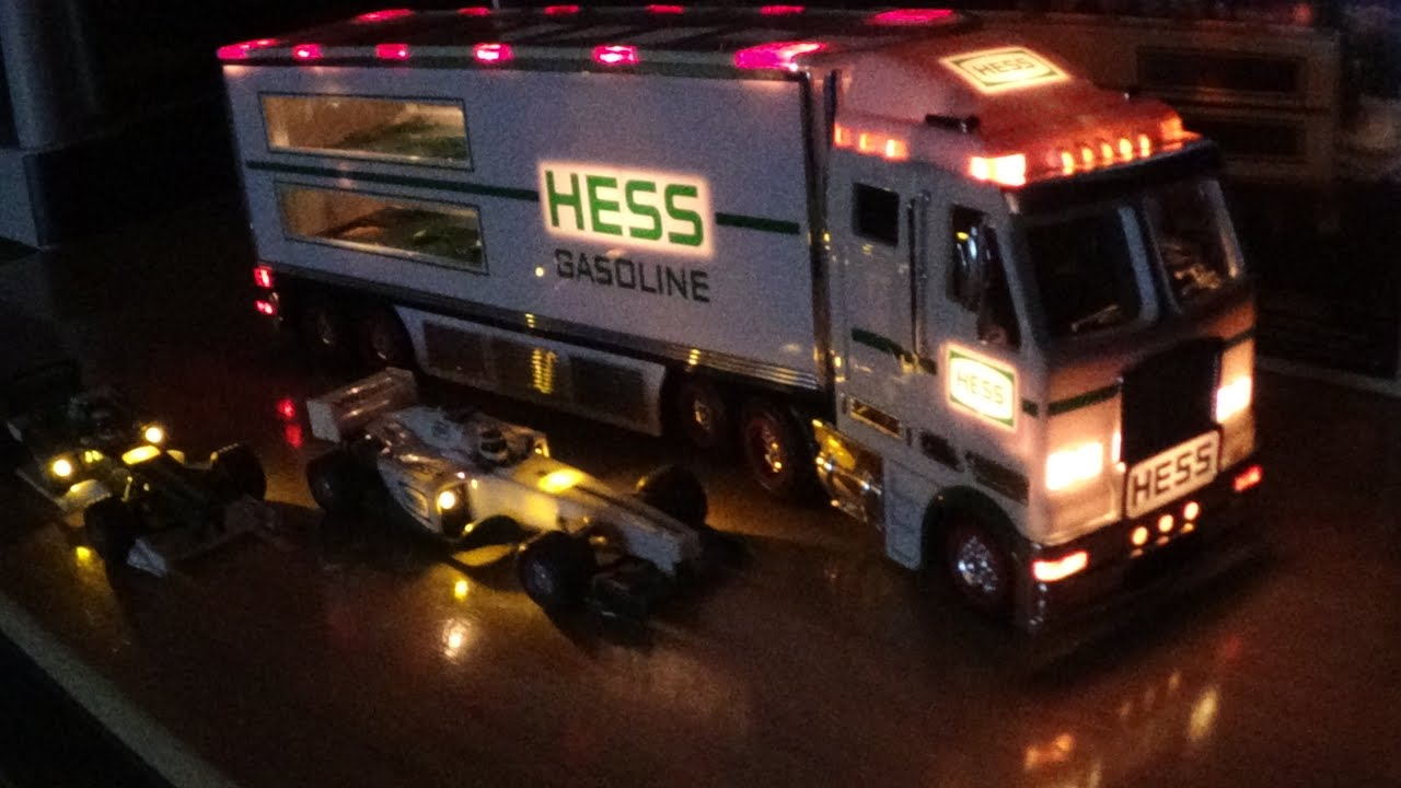2003 Hess Truck with 2 Race Cars Unboxing and light show