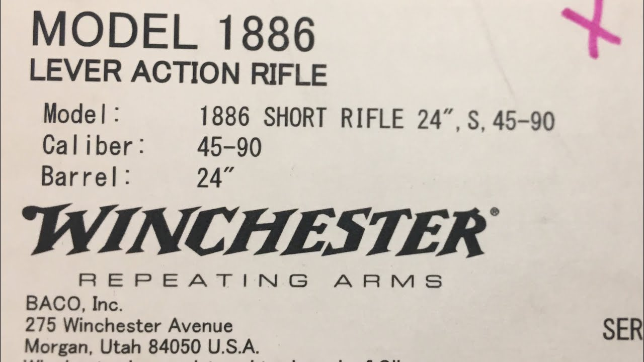 Unboxing of the 45 -90 Winchester model 1886 lever action short rifle