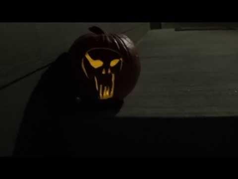 Halloween fail - I try to show off my Punisher Pumpkin I just carved free hand