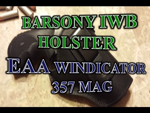 Barsony Black Leather IWB Holster (EAA Windicator Revolver 357 Mag)