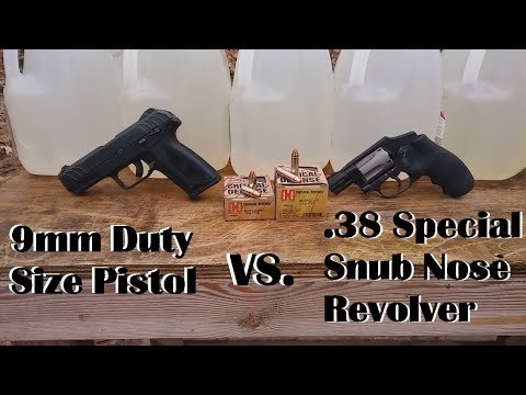 9mm Duty Size Pistol Vs .38 Special Snub Nose Revolver