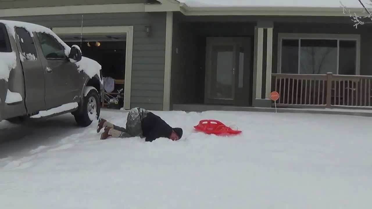 Racked my balls! Snow sled fail - This one hurt!