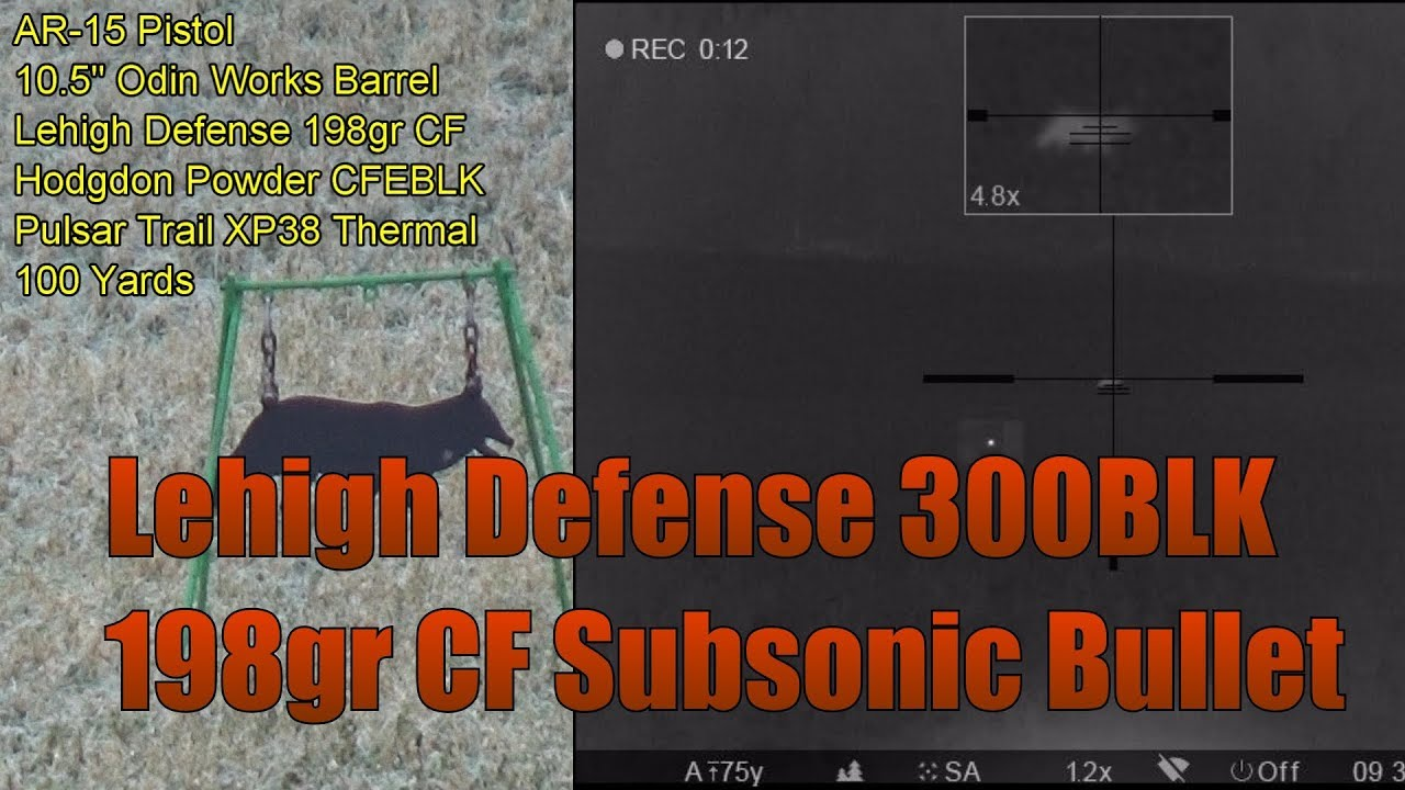 Lehigh Defense 300BLK 198gr Controlled Fracturing Subsonic 100 Yard Accuracy Pulsar Trail XP38
