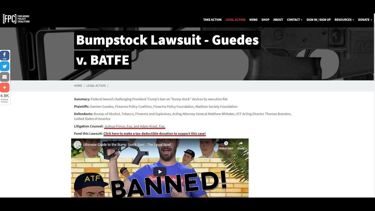 Stop The Bump Stock Ban VR To The Gun Collective Legal Brief & Adam Kraut / Help Support The Lawsuit
