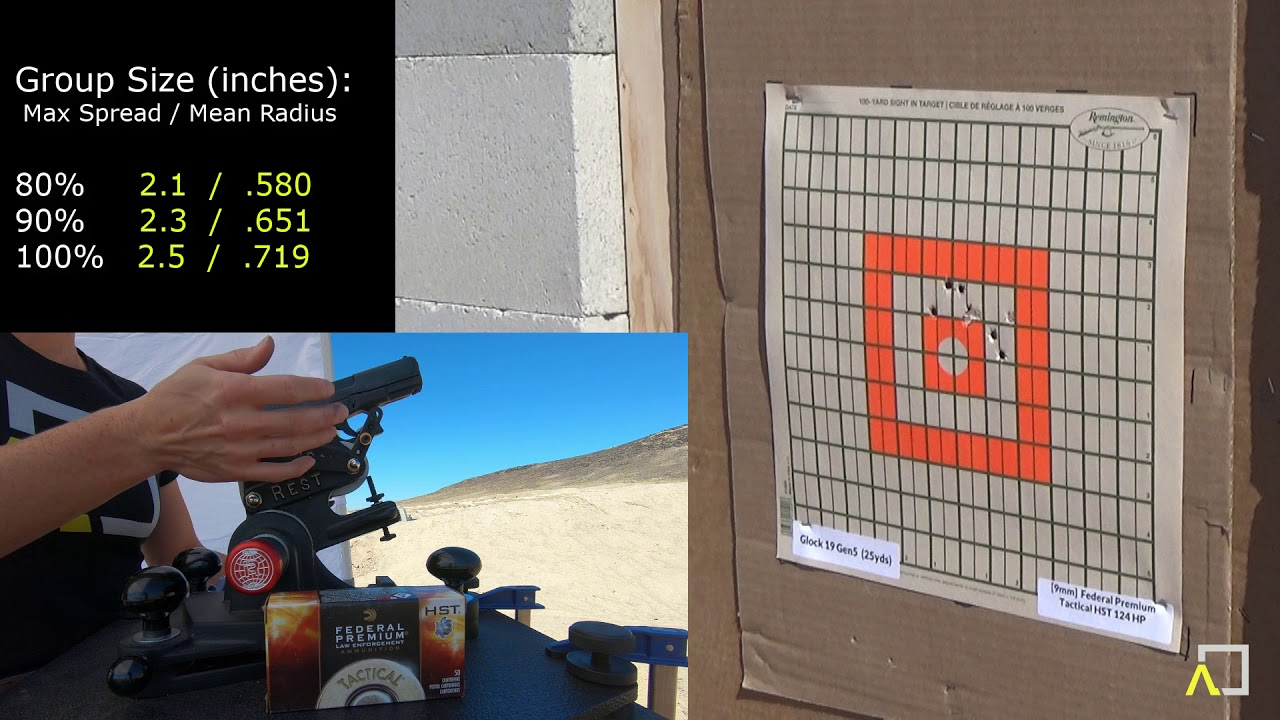 Glock 19 Gen5 Accuracy with Federal 124gr HST