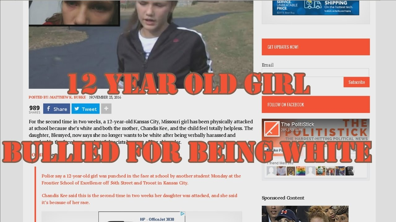 12 year old girl bullied for being white