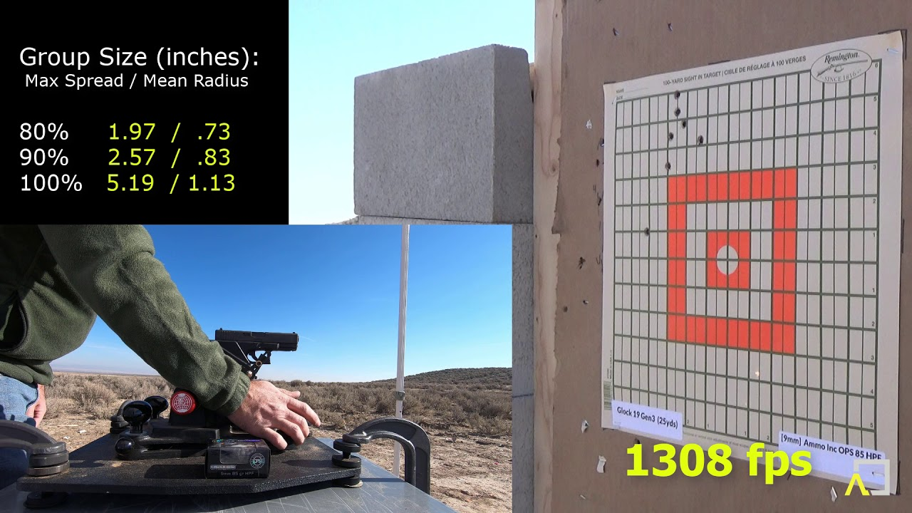ACCURACY TEST: Glock 19 Gen3  with Ammo Inc OPS 85gr HPF