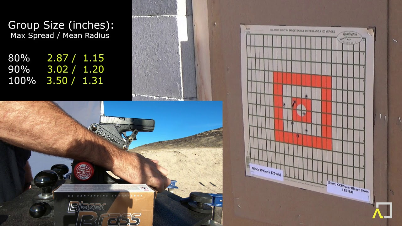 ACCURACY TEST: Glock 19 Gen5 with CCI / Speer Blazer Brass 115gr FMJ