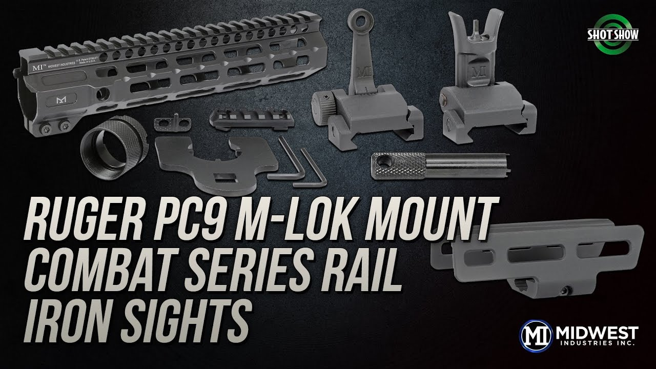 Midwest Industries Ruger PC9 M-LOK Mount, Combat Series Rail & Iron Sights - SHOT Show 2019