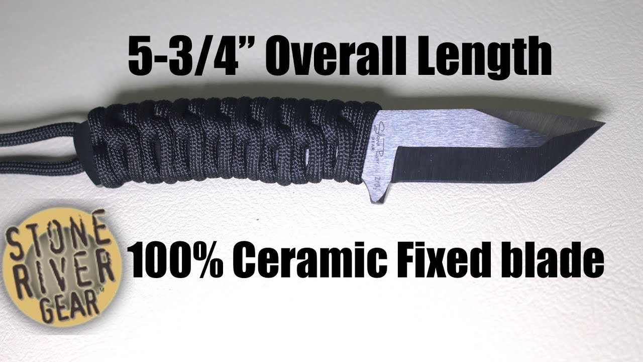 100% Ceramic Fixed Blade Neck Knife (Stone River Gear)