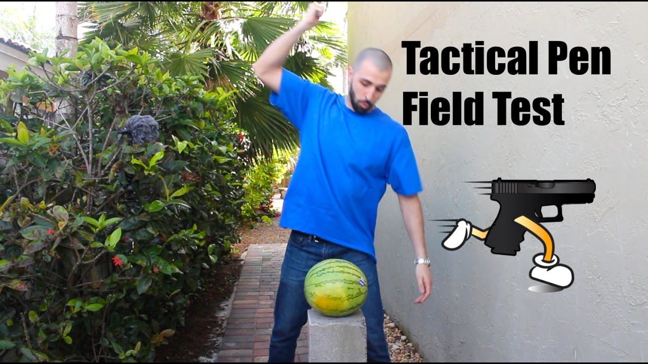 Smith and Wesson Tactical Pen Field Test (Coconut, Watermelon, Metal Can)