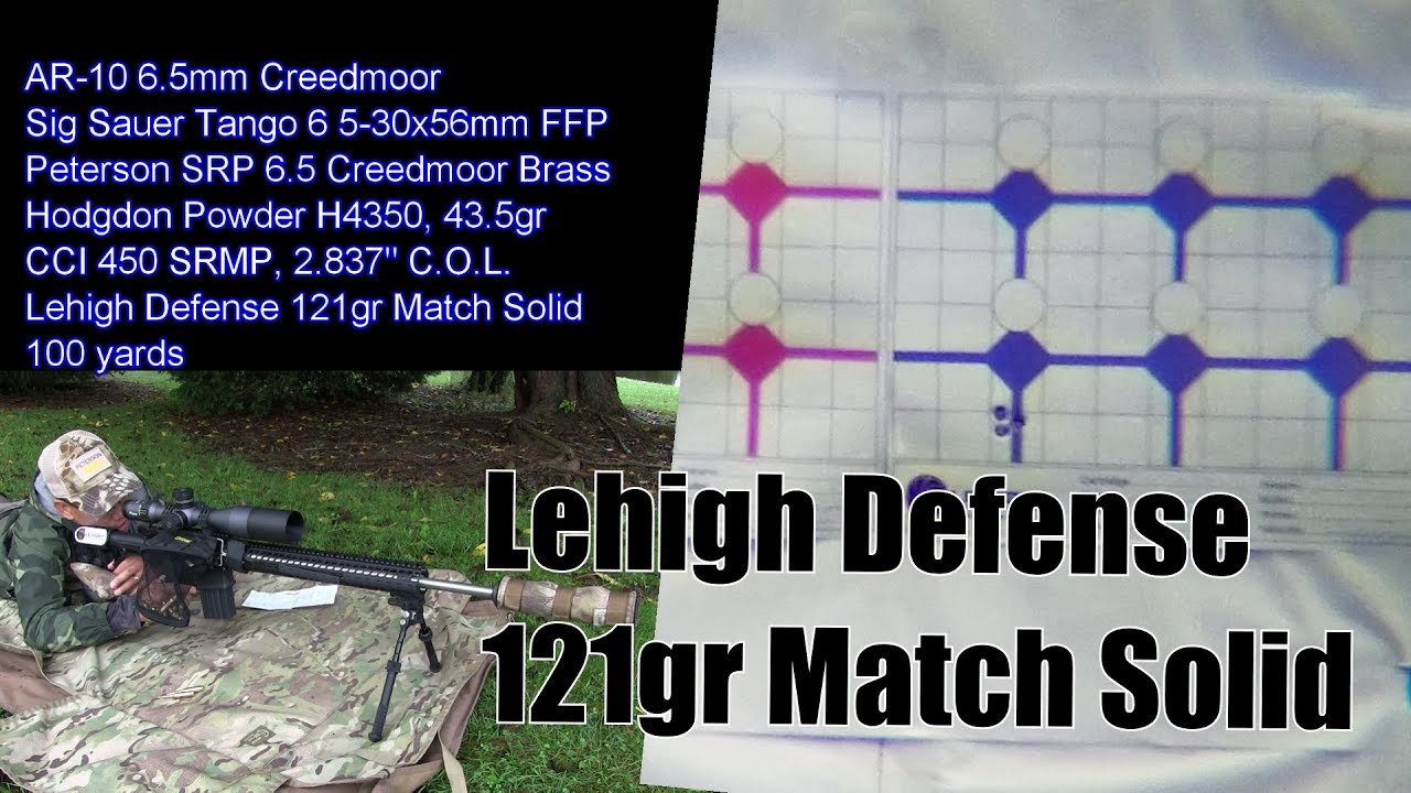 Lehigh Defense 121gr 6.5 Creedmoor Match Solid Load Development & 100 Yard Tests