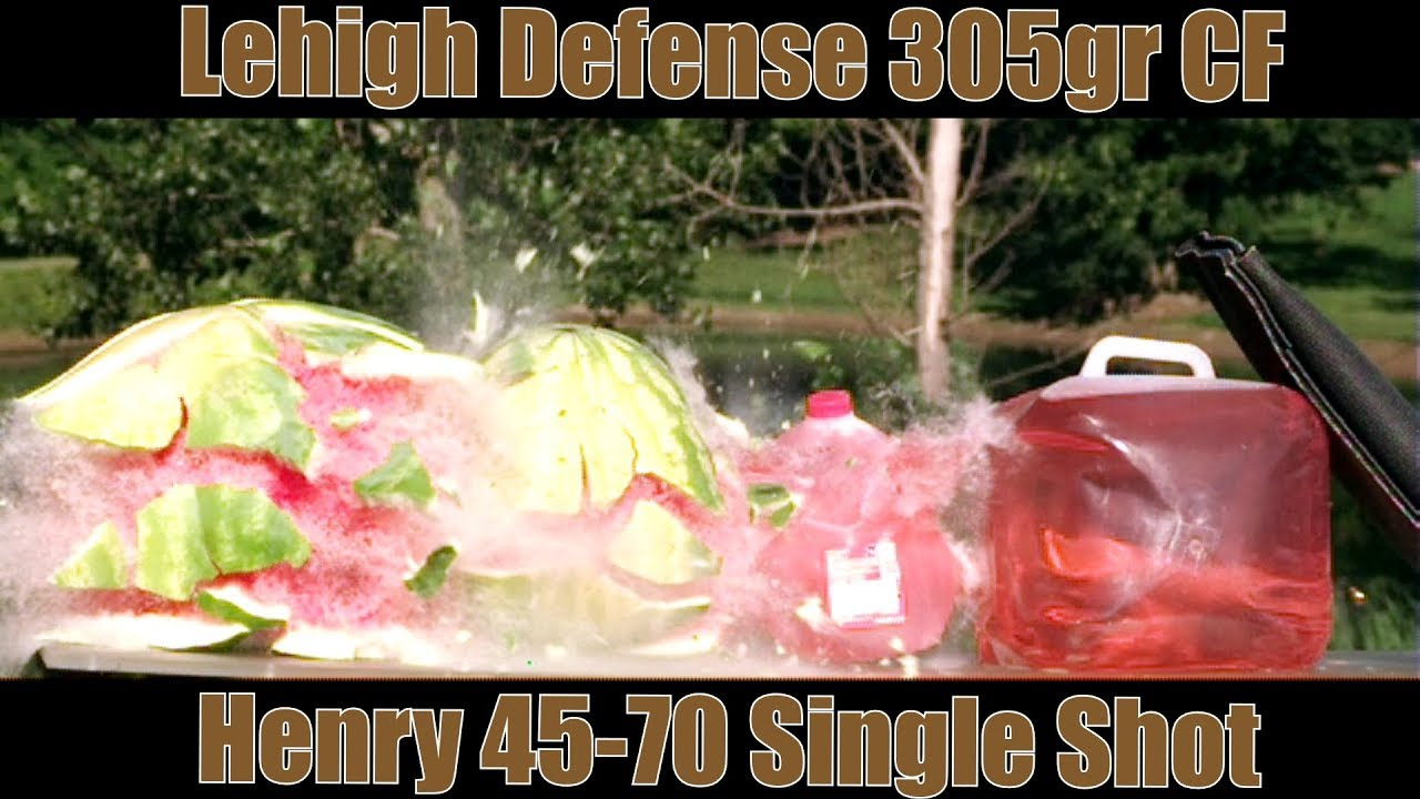 Lehigh Defense 305gr Controlled Fracturing Supersonic 45-70 Henry Single Shot Rifle Watermelon Test