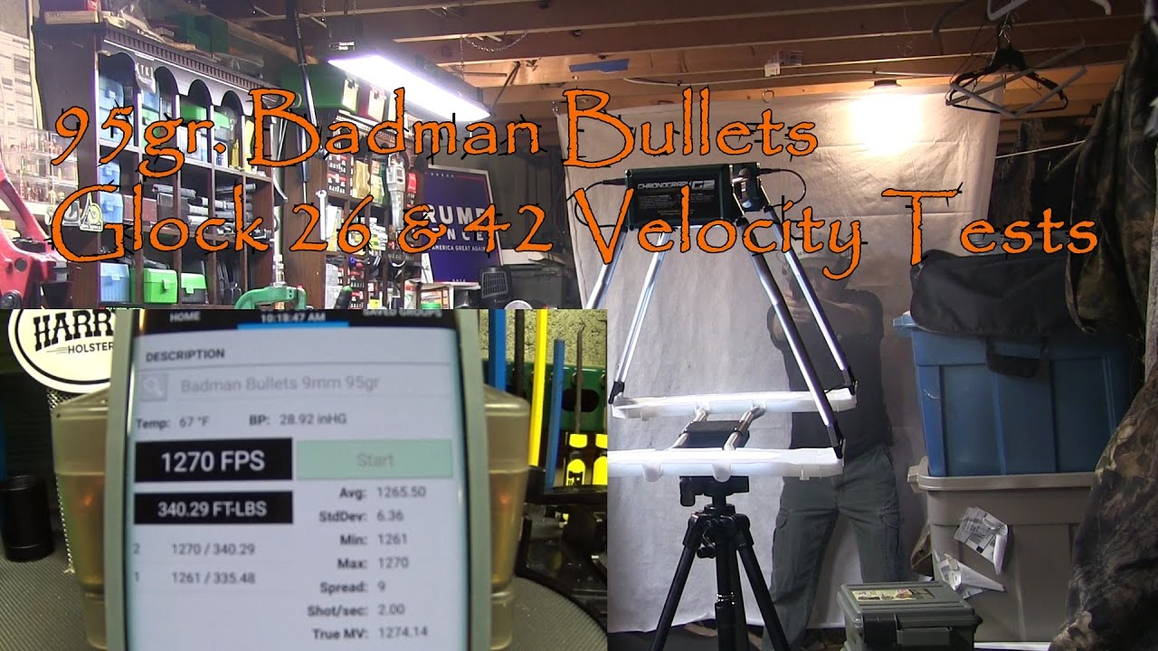 Badman Glock 26 and 42 95gr Polymer Coated Velocity Tests