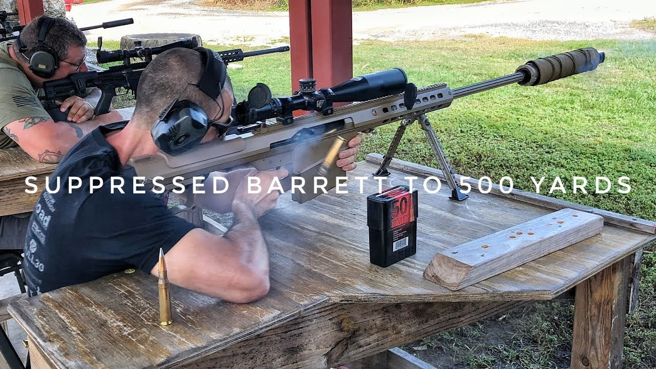 Suppressed Barrett to 500 yards (M107A1) + Subsonic 50 BMG