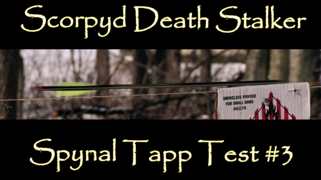 Scorpyd DS Crossbow Spynal Tapp High Speed Video Test #3 Bare Shaft and Factory Fletched Arrows