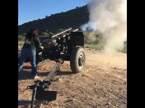 Cheryl Firing Off the AZFirearms Howitzer Cannon
