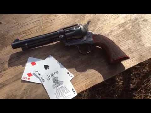 Shooting playing cards with Taylor's & Co the Gunfighter short stroke .45 LC Single Action Revolver