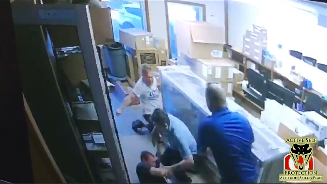 Employees Stop Knife Wielding Lunatic