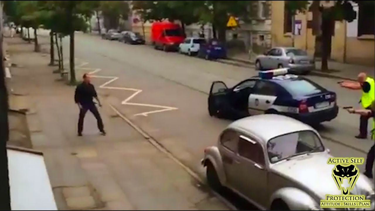 Polish Police Take Down Man Wielding Hammer and Crowbar | Active Self Protection