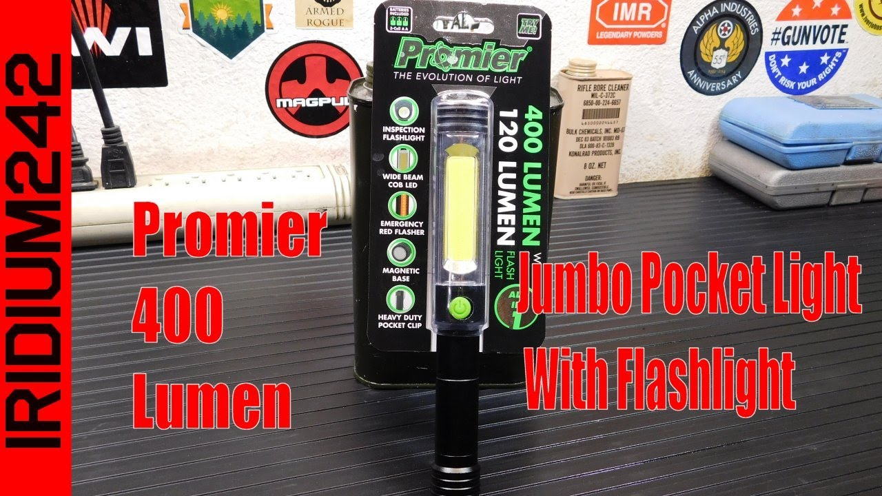 Promier 400 Lumen Jumbo Pocket Light With Flashlight