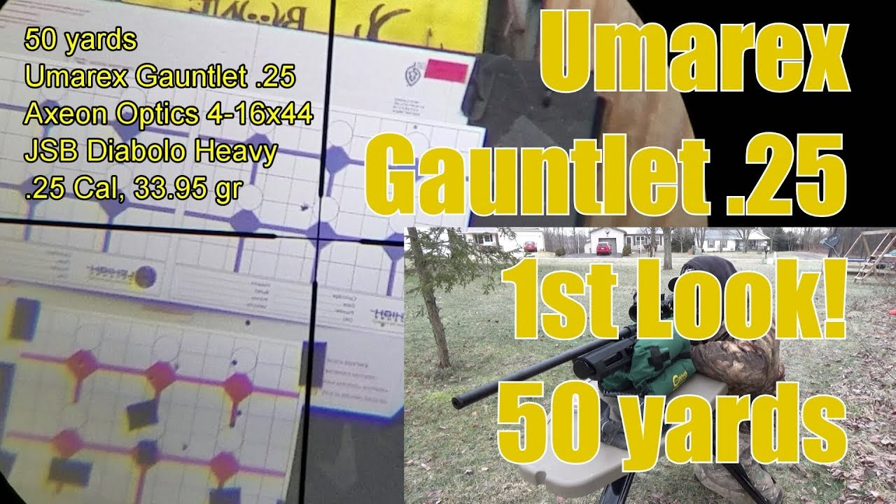 Umarex Gauntlet 25 Pellet Rifle Axeon Optics 4-16x44 1st look 50 Yard Tests