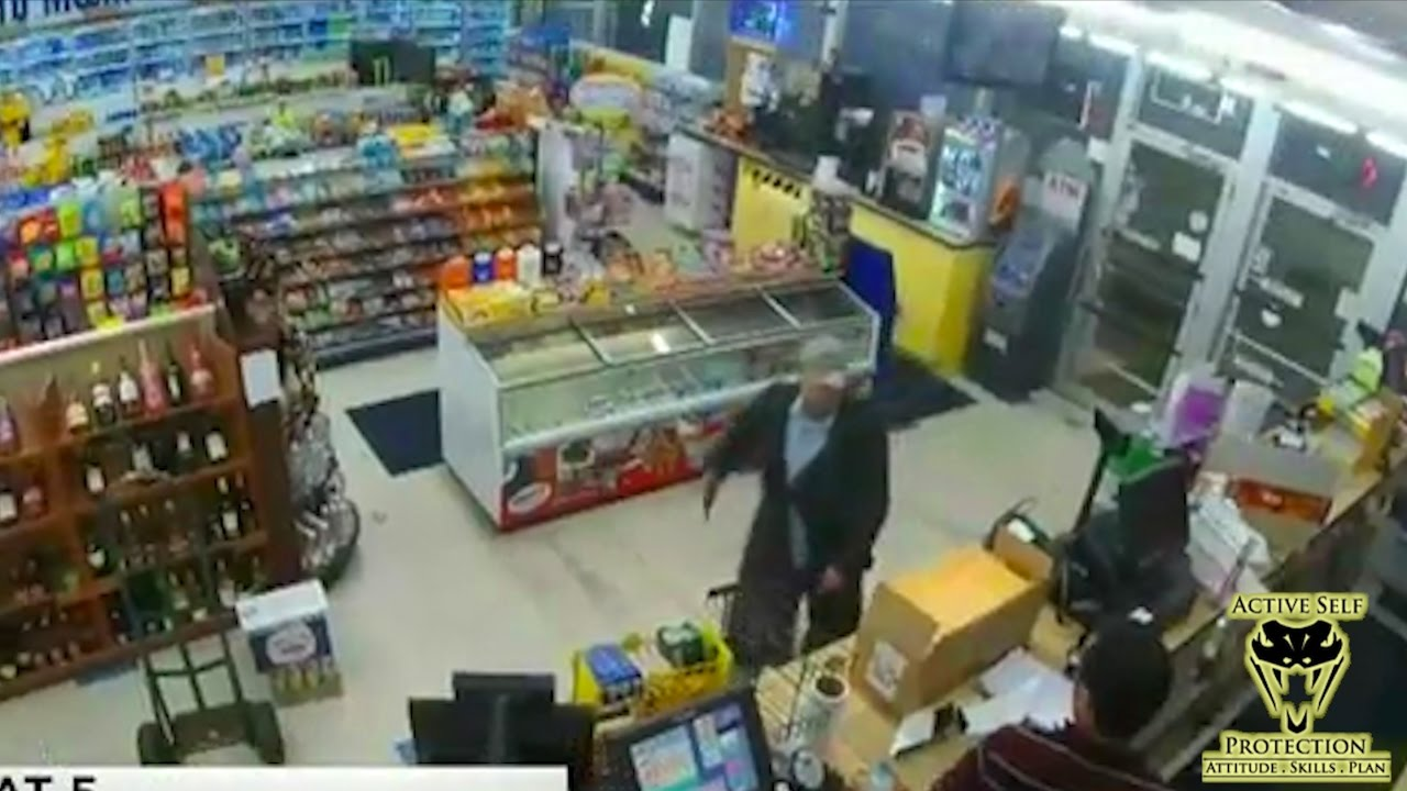 Clerk's Awareness Lets Him Get to His Gun Before Armed Robber Does | Active Self Protection