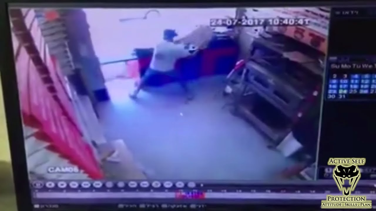 Pizza Shop Owner Stops Attacker Using Pizza Stone | Active Self Protection