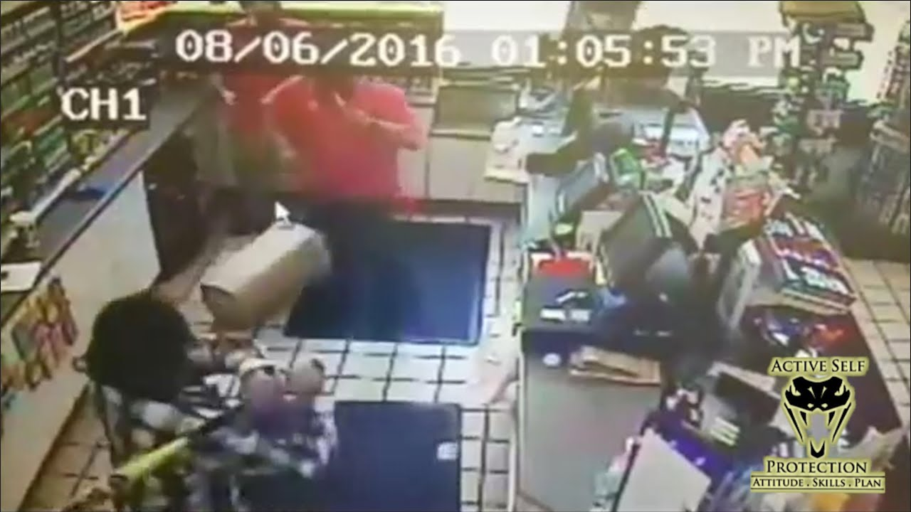 Convenience Store Clerks Fight Bat Wielding Armed Robbers