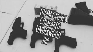 10mm  Glock 29 vs. Glock 20 vs. Glock 40 Underwood JHP 165 gr vs 155gr XTP.