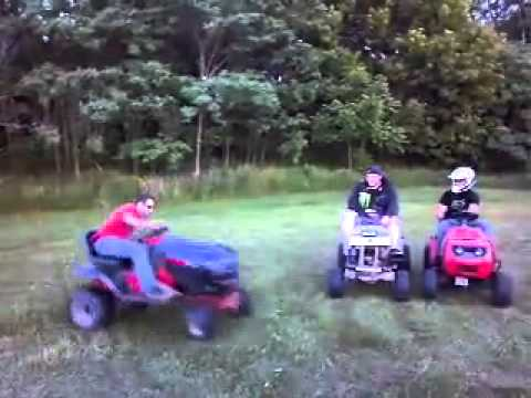 Race mower doing donuts