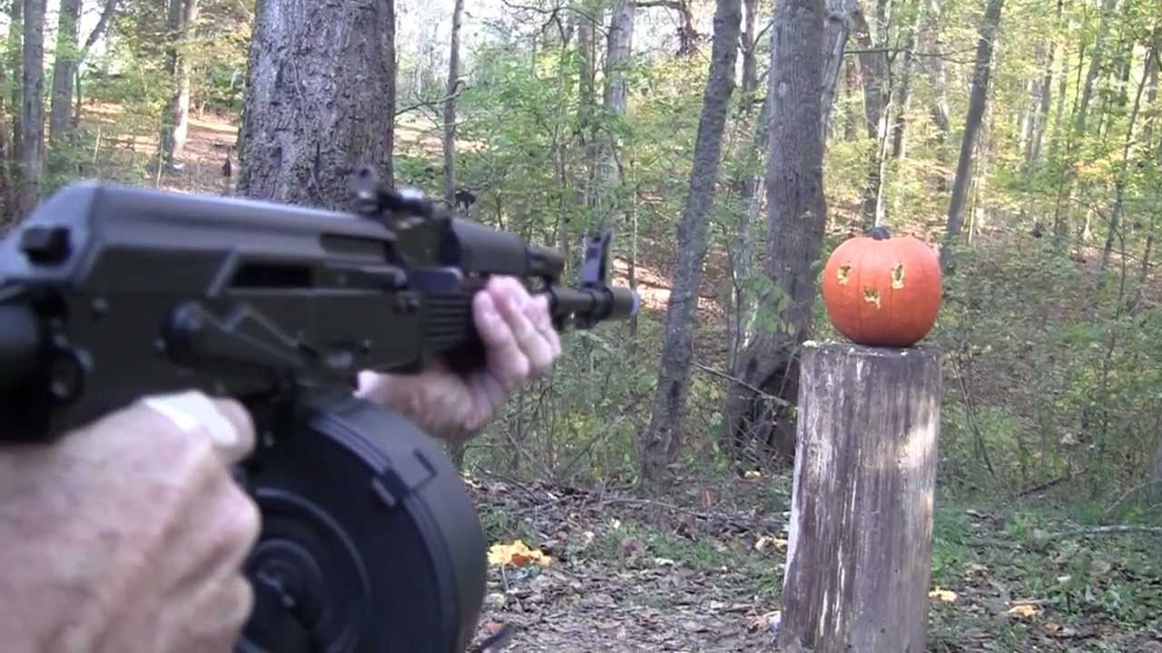 Pumpkin Carving With an AK 47