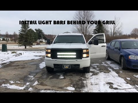 How To Install LED Light Bar Behind Grill 2014 Chevy Silverado 1500 Switch & High Beam